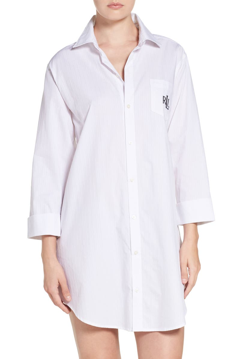 LAUREN RALPH LAUREN His Sleep Shirt, Main, color, WHITE
