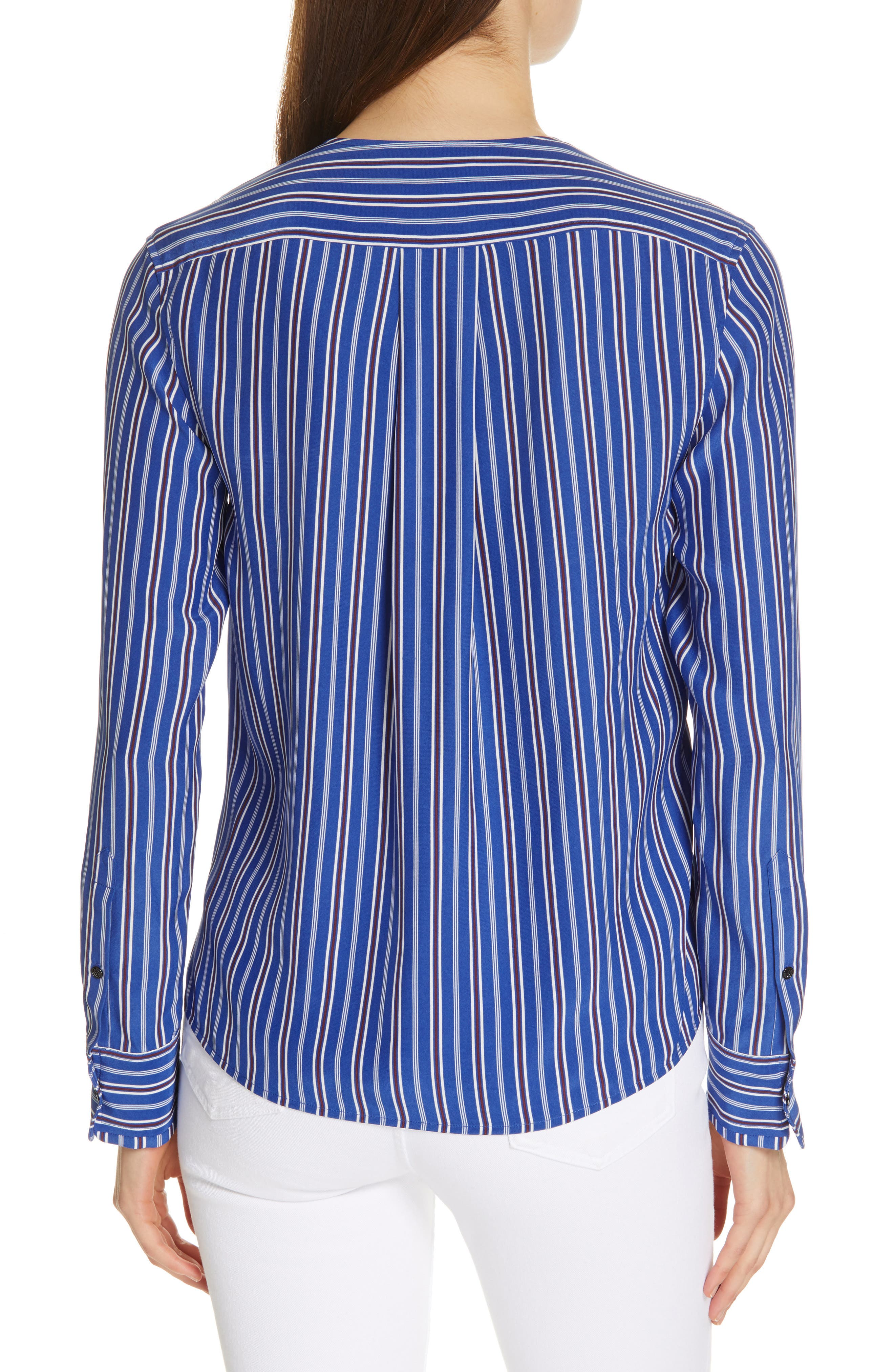 ,                             Felix Stripe Silk Wrap Top,                             Alternate thumbnail 2, color,                             BLUE MULTI