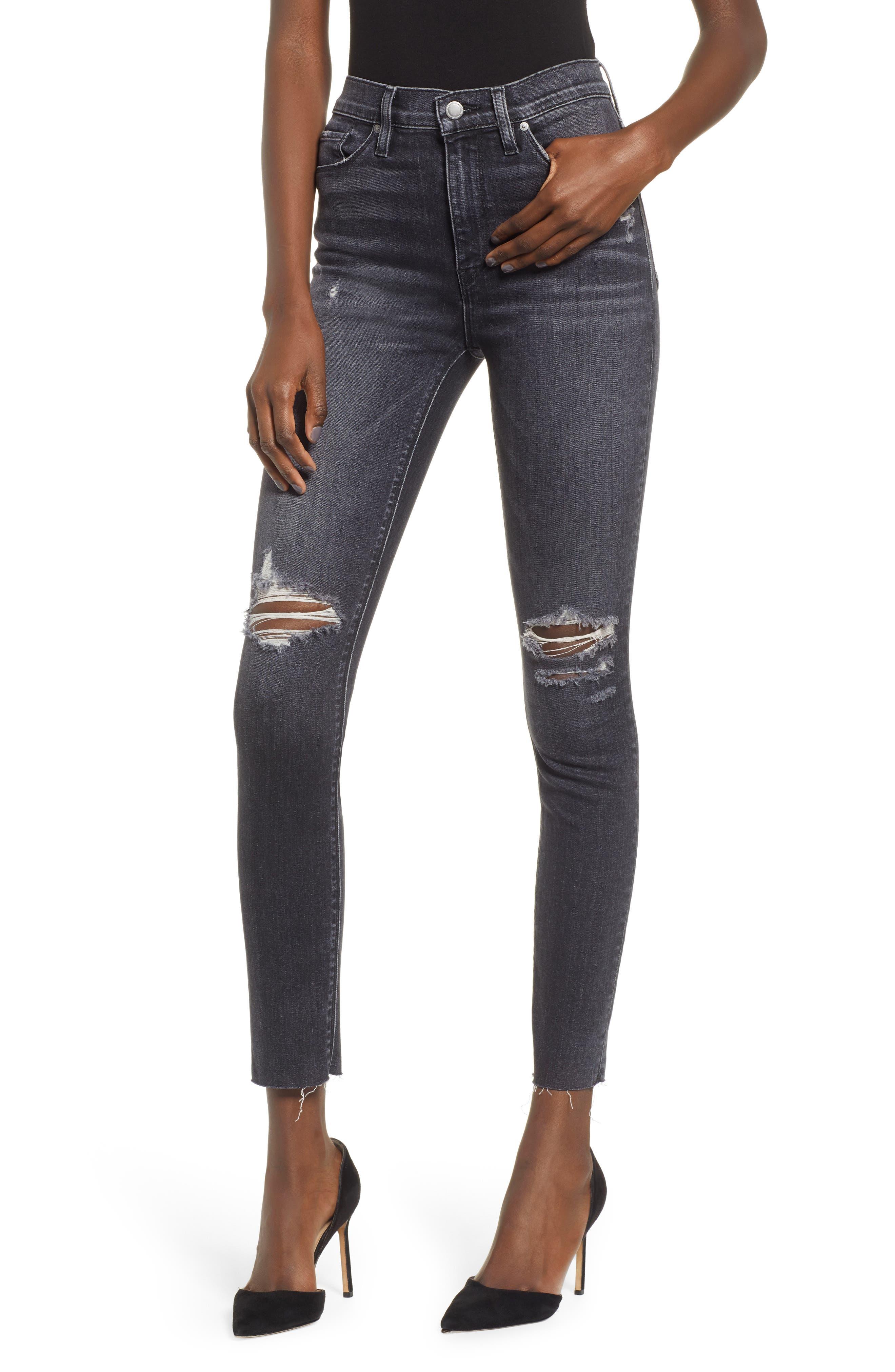 Barbara Distressed High Waist Ankle Skinny Jeans, Main, color, WORN KONA