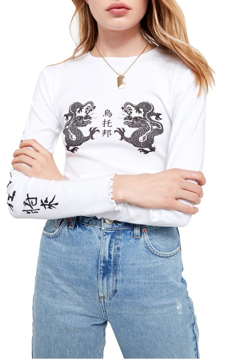 BDG URBAN OUTFITTERS Long Sleeve Dragon Crop Tee, Main, color, 100