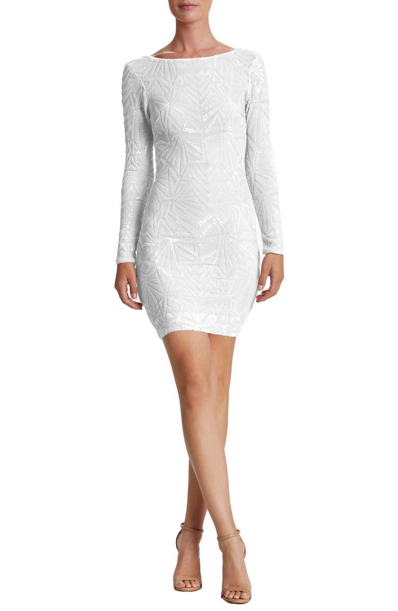 DRESS THE POPULATION 'Lola' Sequin Body-Con Dress, Main, color, WHITE