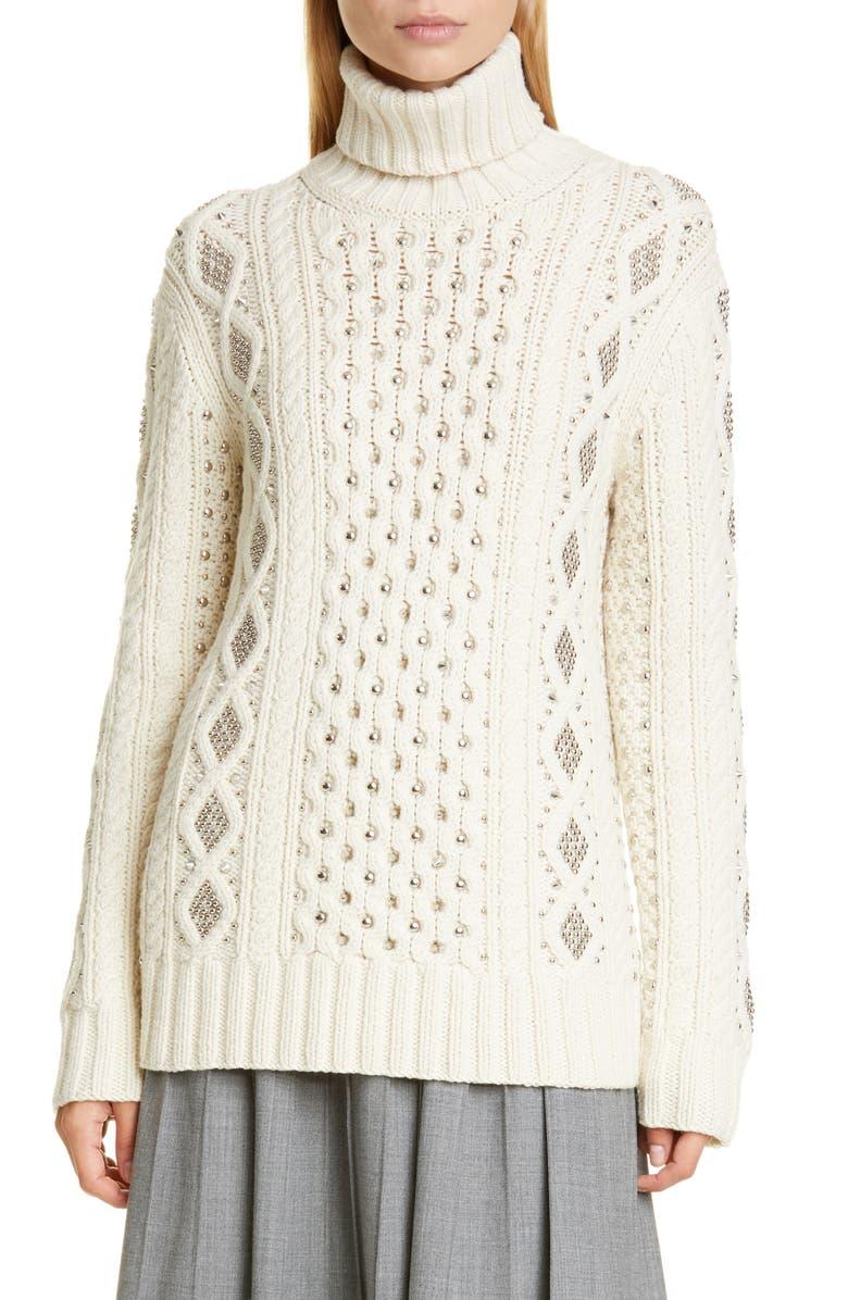 MICHAEL KORS COLLECTION Studded Cashmere Aran Sweater, Main, color, VANILLA