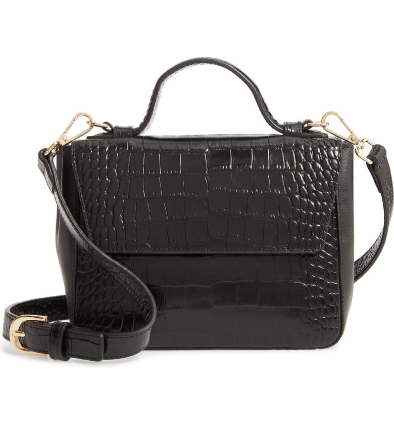 NORDSTROM Mini Ryder Croc Embossed Leather Top Handle Bag, Main, color, BLACK