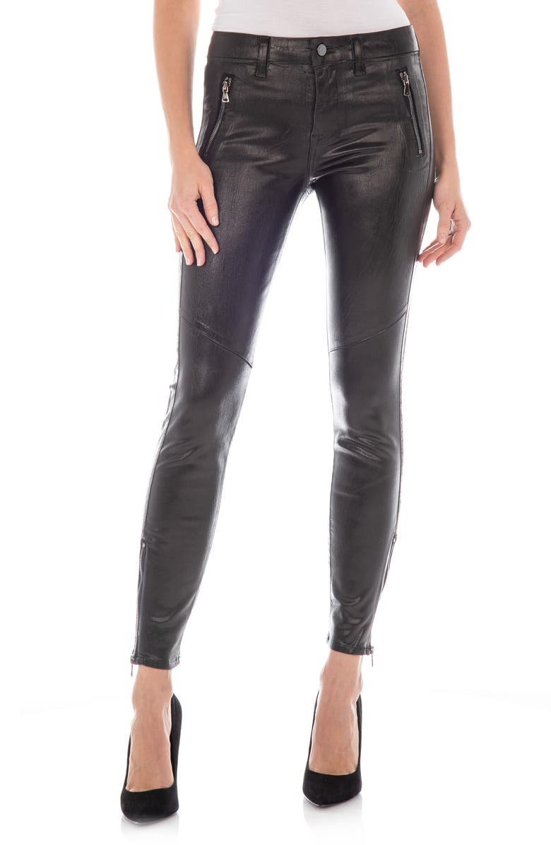 FIDELITY DENIM Izzy Cotton & Lyocell Blend Faux Leather Skinny Pants, Main, color, BLACK