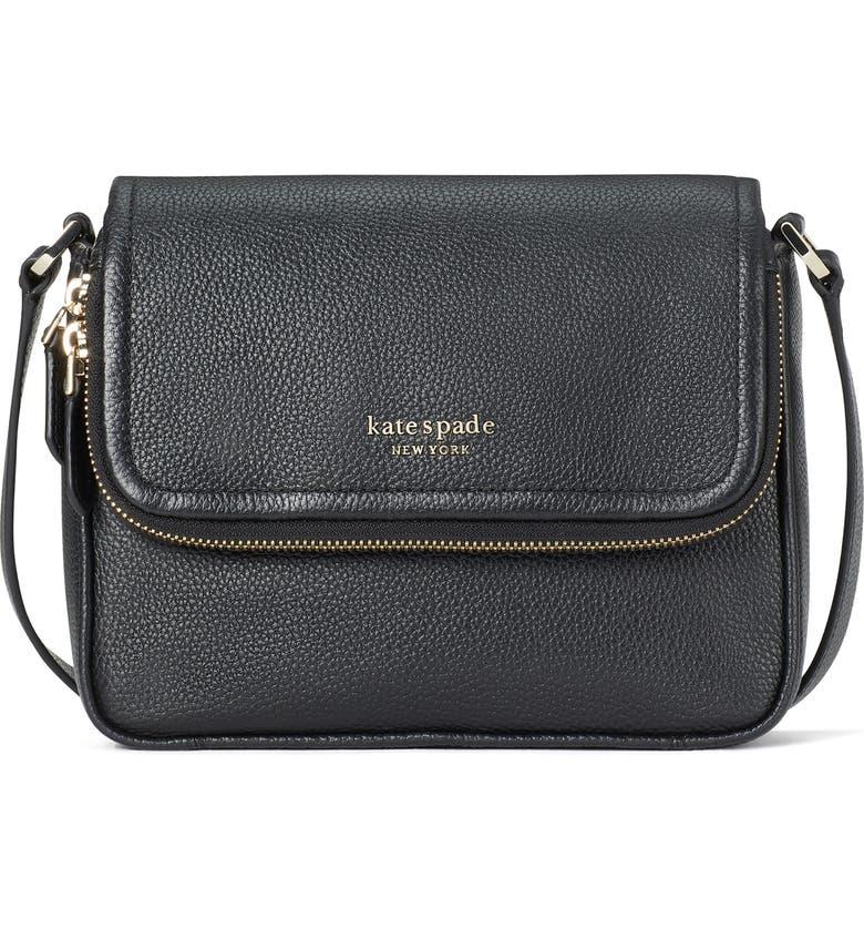 KATE SPADE NEW YORK run around large flap crossbody bag, Main, color, BLACK
