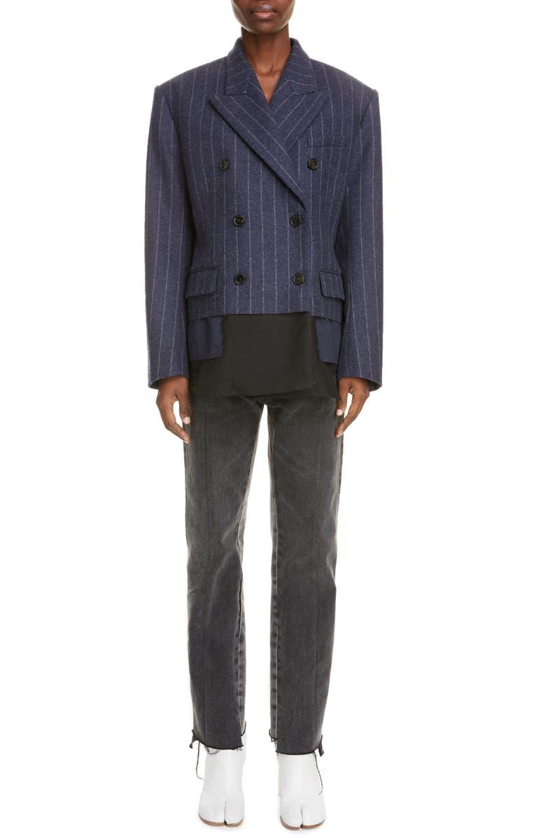 MAISON MARGIELA Stripe Lambswool Jacket, Main, color, MELANGE BLUE STRIPED