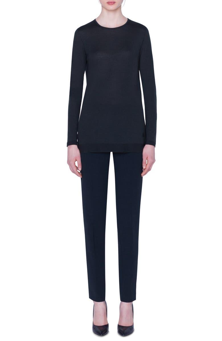 AKRIS Cashmere & Silk Tunic Sweater, Main, color, PINE