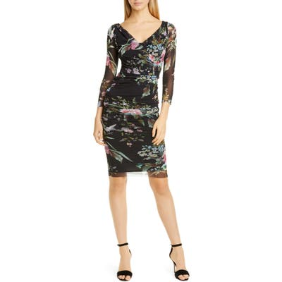 Fuzzi Floral Print Mesh Faux Wrap Dress, Black