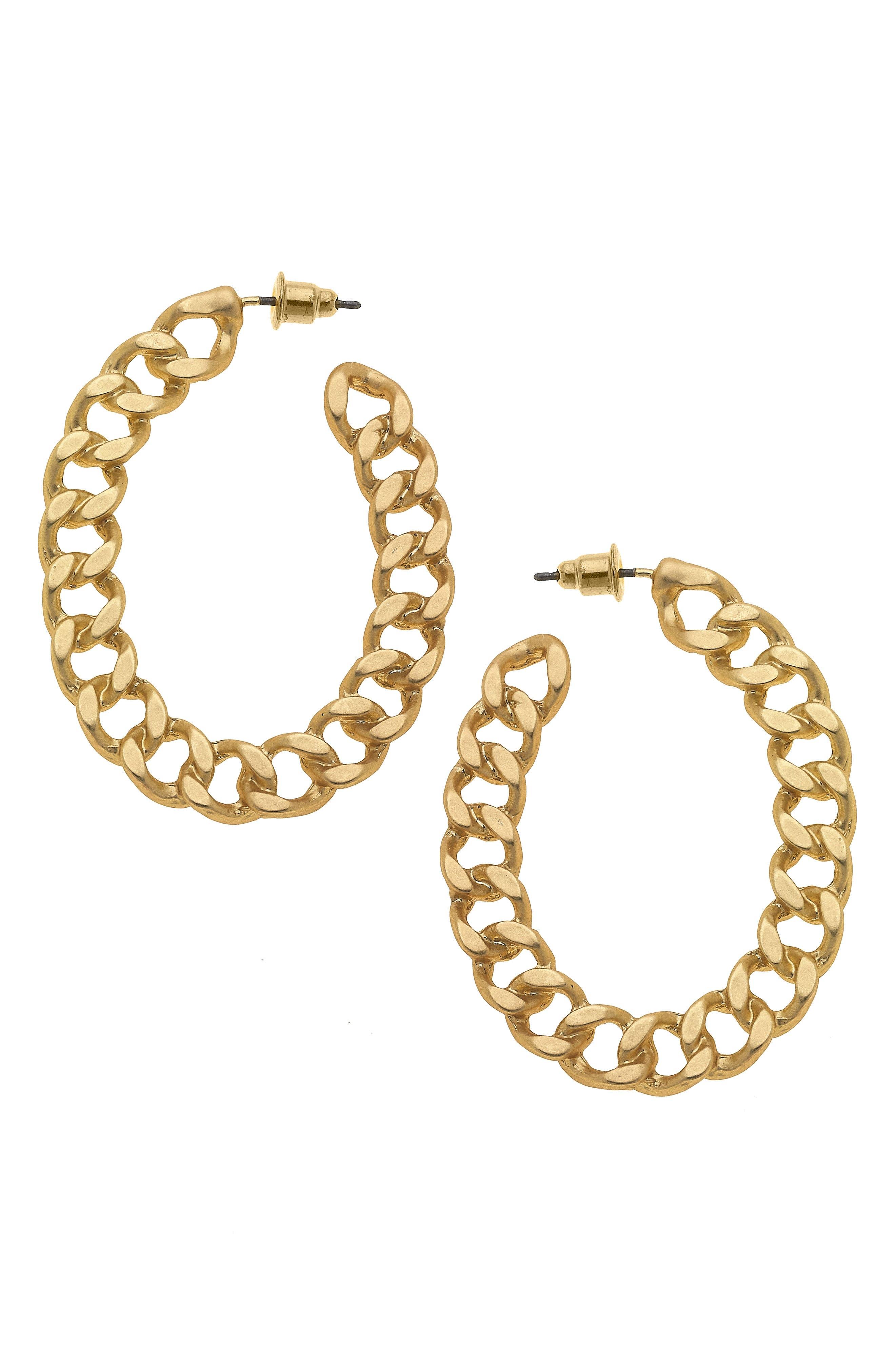 Elin Chain Link Hoop Earrings