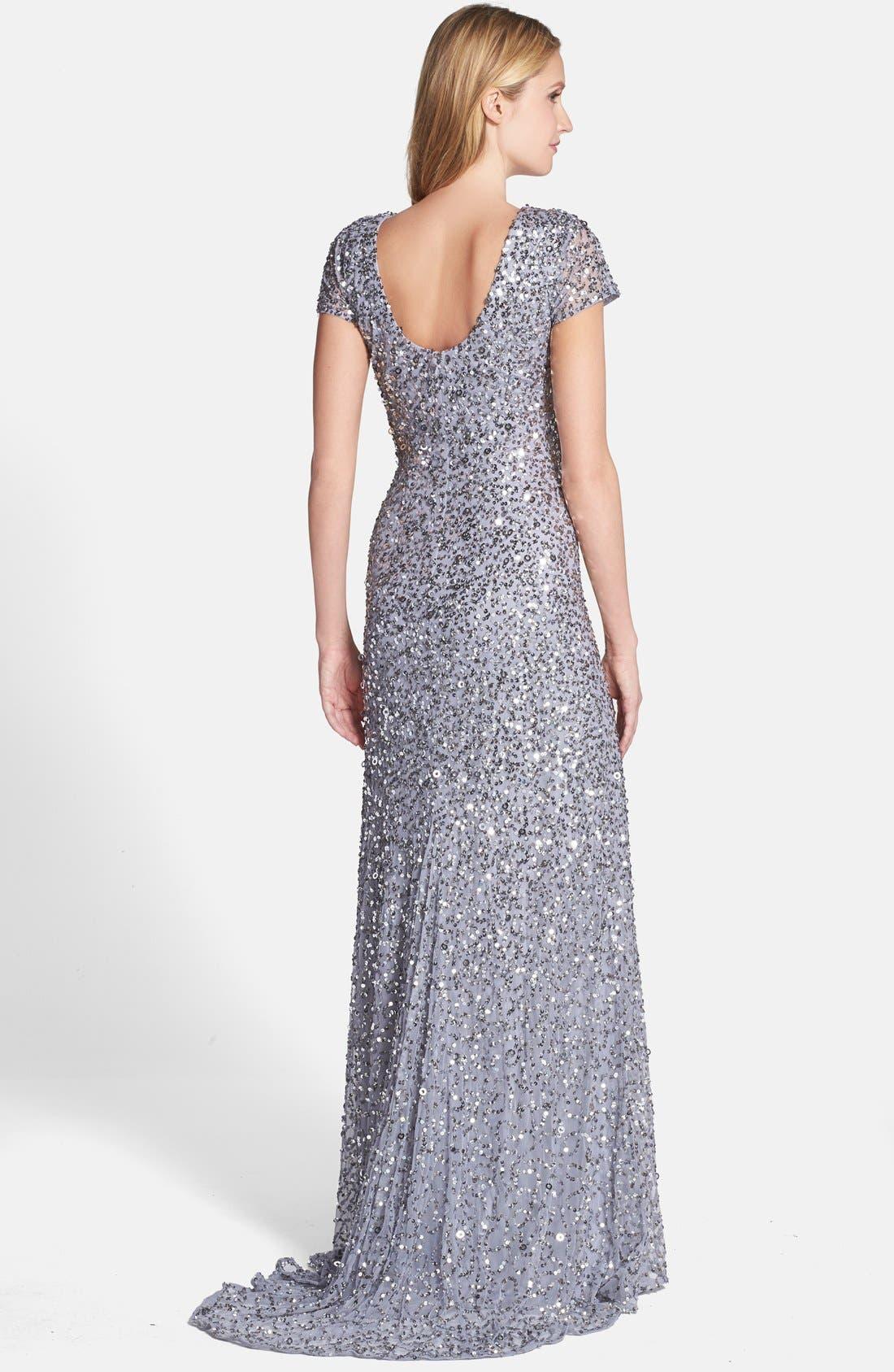 ,                             Short Sleeve Sequin Mesh Gown,                             Alternate thumbnail 43, color,                             044