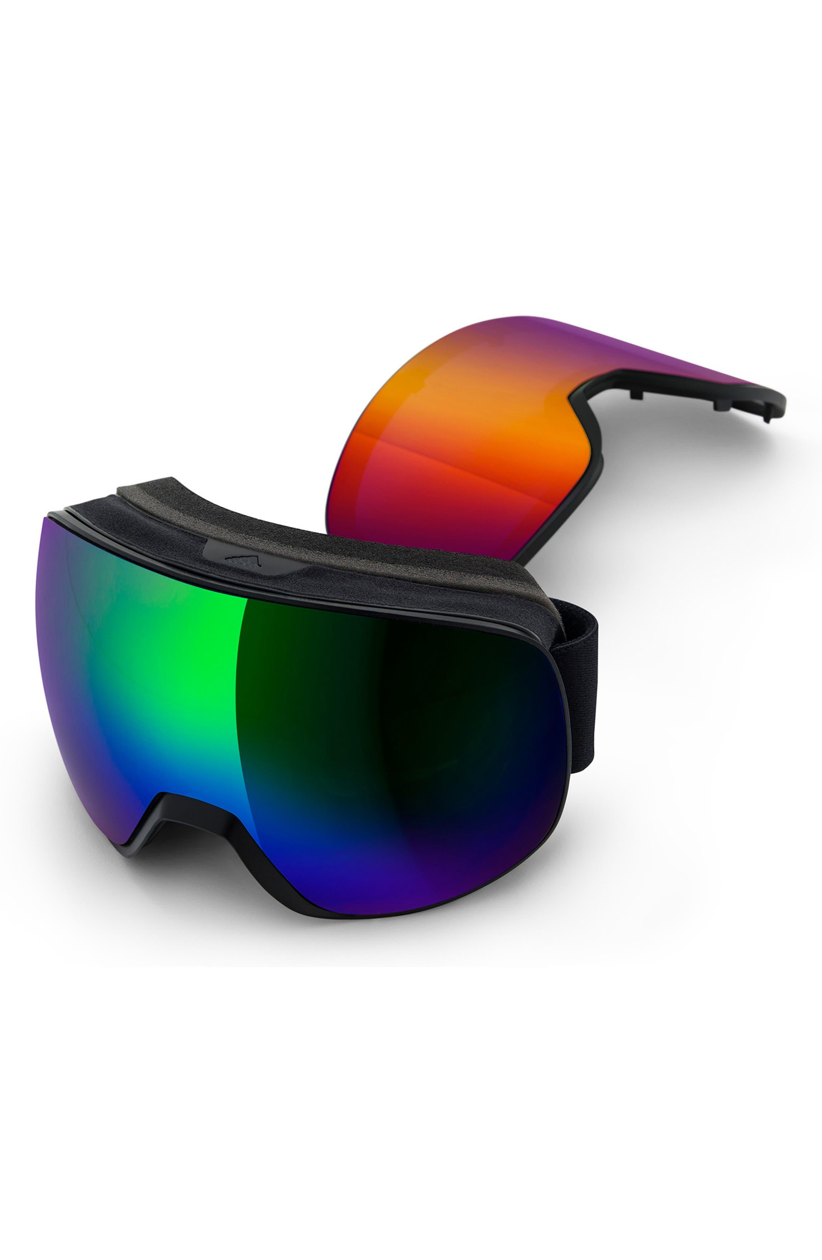 ,                             Progressor L Mirrored Spherical Snowsports GogglesED,                             Main thumbnail 1, color,                             BLACK MATTE/ GREEN
