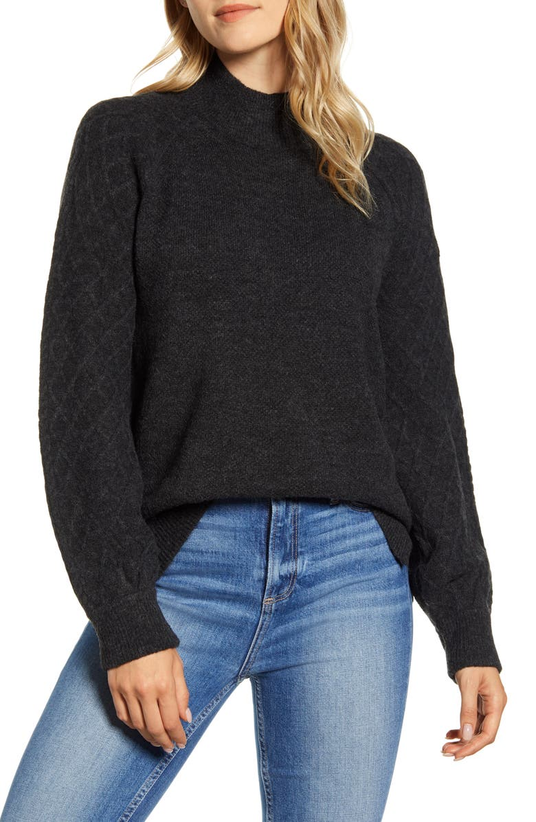 CASLON<SUP>®</SUP> Mix Stitch Turtleneck Sweater, Main, color, GREY DARK CHARCOAL HEATHER
