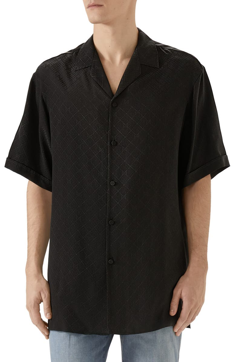 GUCCI GG Check Silk Crêpe Jacquard Bowling Shirt, Main, color, BLACK