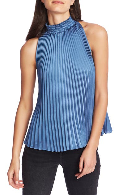 1.state Tops PLEATED CHARMEUSE HALTER TOP
