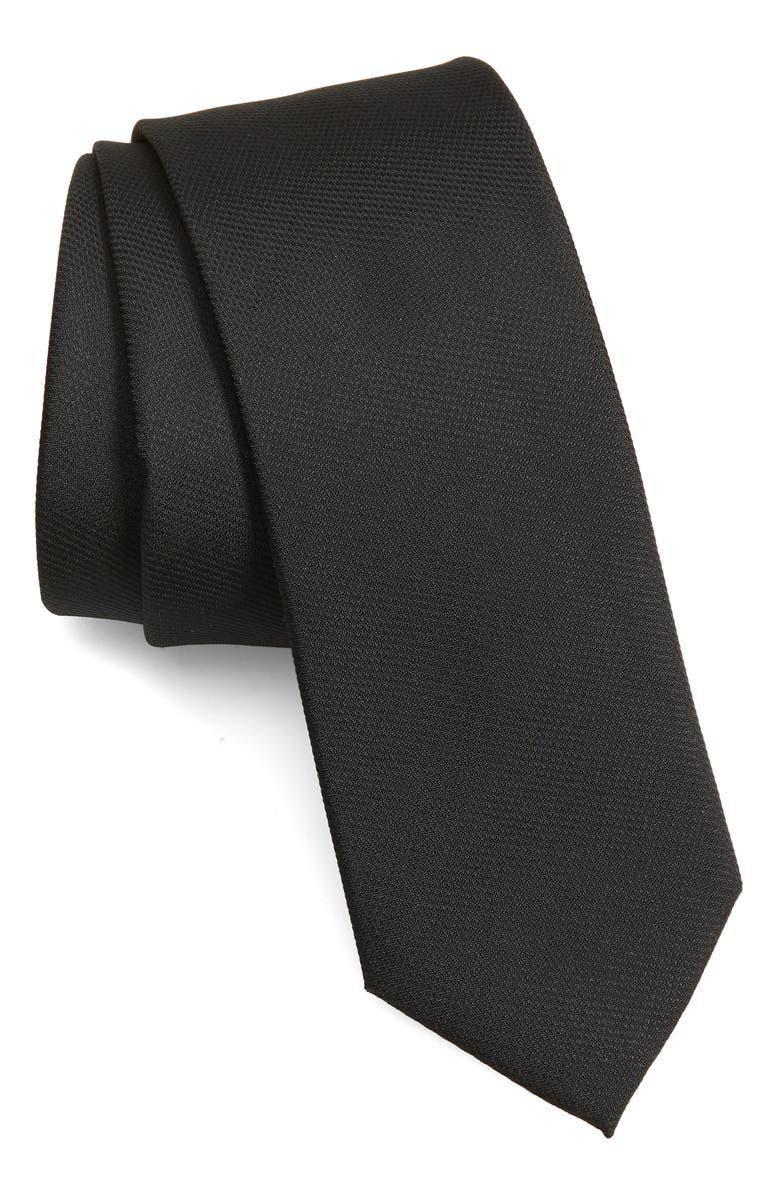 1901 Cornett Solid Skinny Tie, Main, color, 001