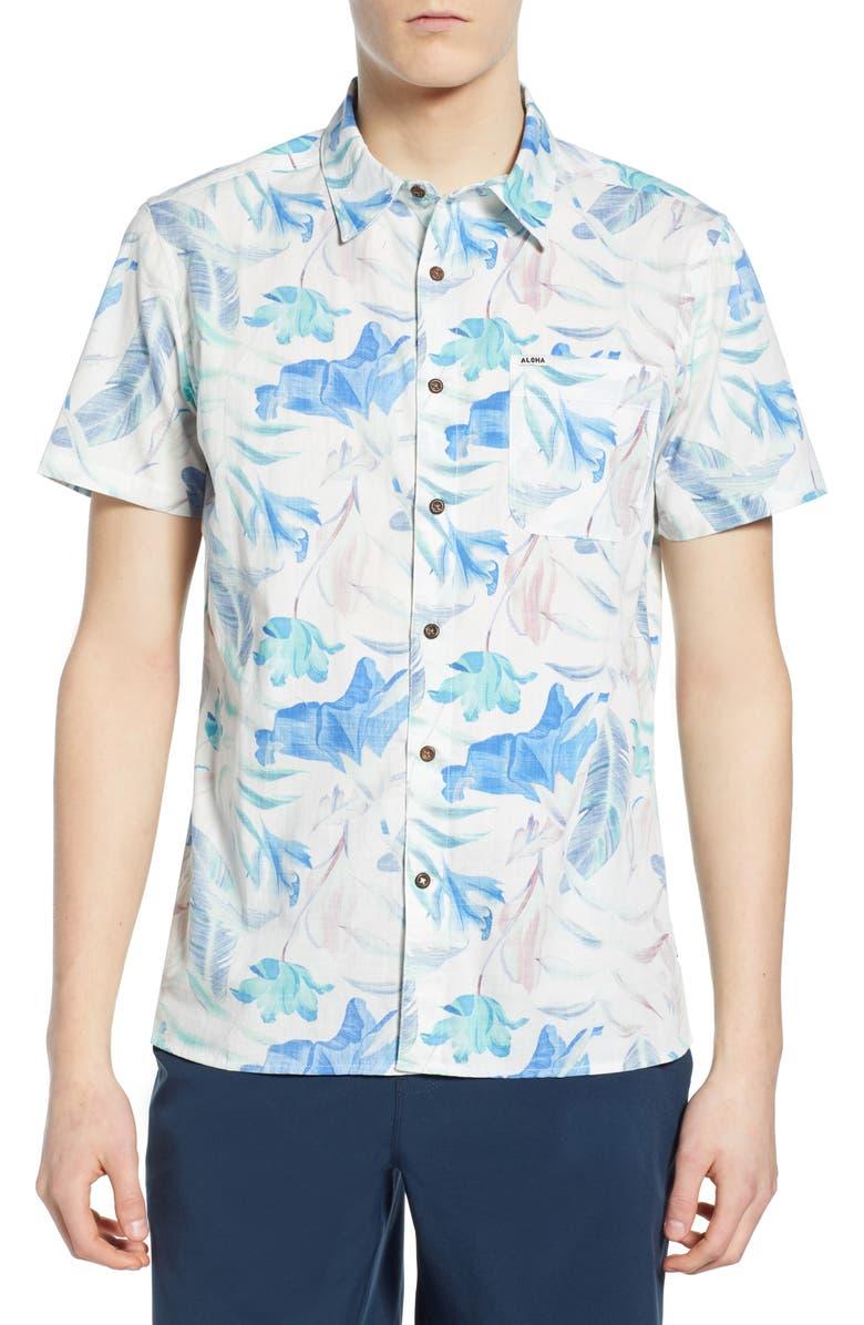 HURLEY Fat Cap Print Woven Shirt, Main, color, TOPAZ MIST
