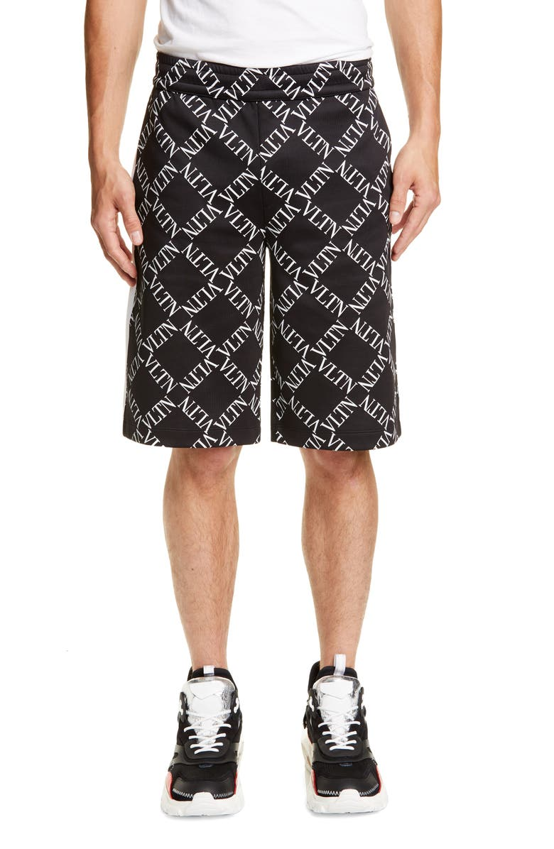 VALENTINO VLTN Grid Print Shorts, Main, color, BLACK WHITE