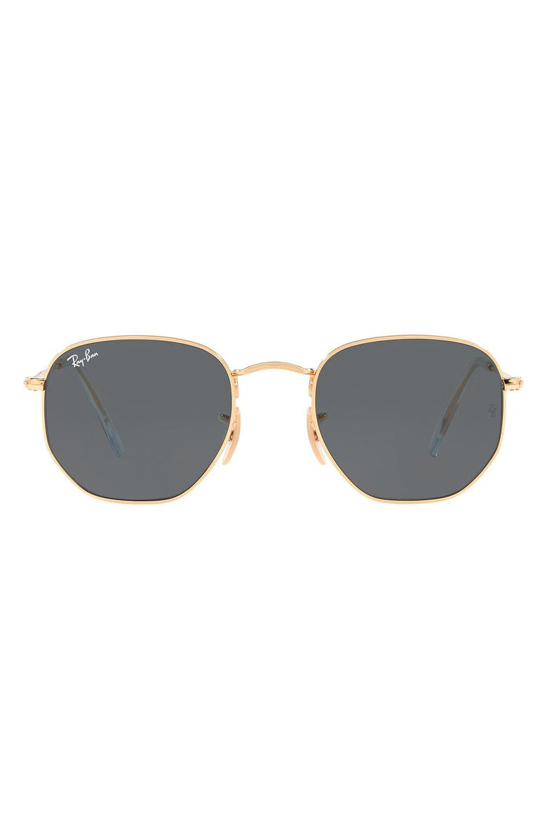 RAY-BAN 51mm Hexagonal Flat Lens Sunglasses, Main, color, GOLD/ BLUE SOLID