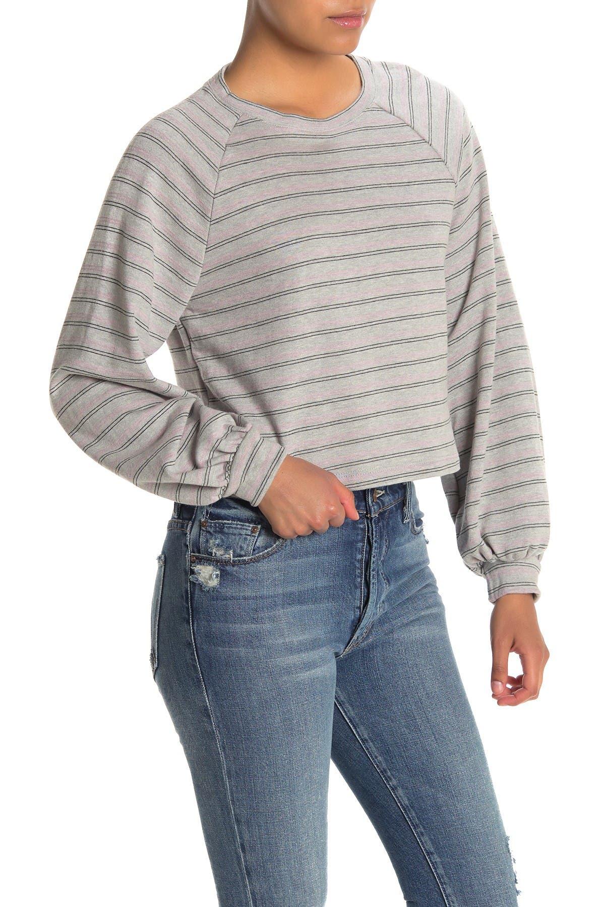 Image of Lush Striped Balloon Sleeve Crop Sweatshirt