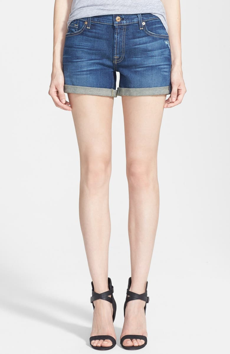 7 FOR ALL MANKIND<SUP>®</SUP> Roll Cuff Denim Shorts, Main, color, 400