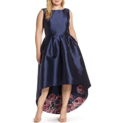 Plus Size Chi Chi London Dani High/low Satin Cocktail Dress, Blue