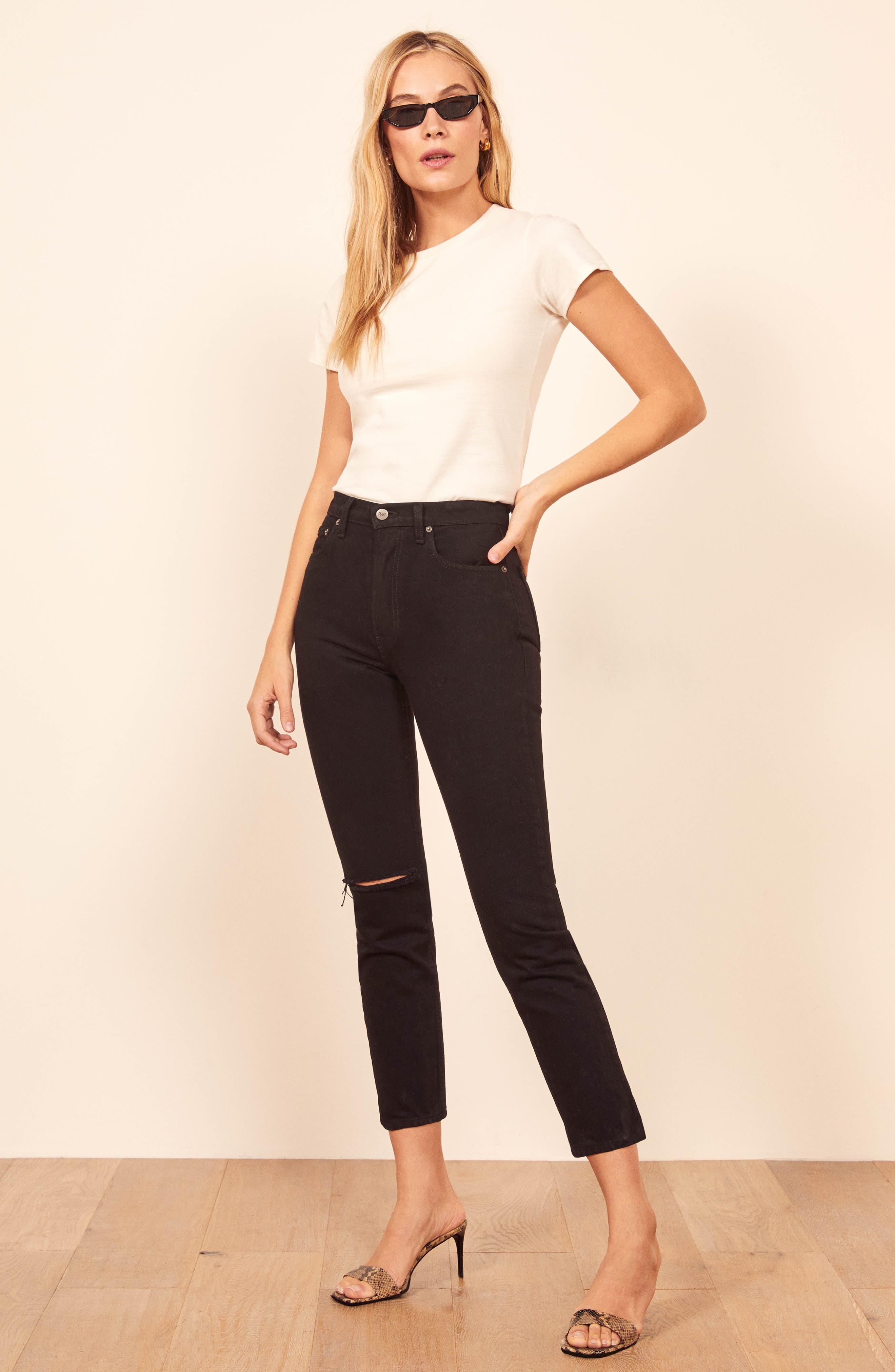 ,                             Julia High Waist Cigarette Jeans,                             Alternate thumbnail 6, color,                             BLACK DESTROYED