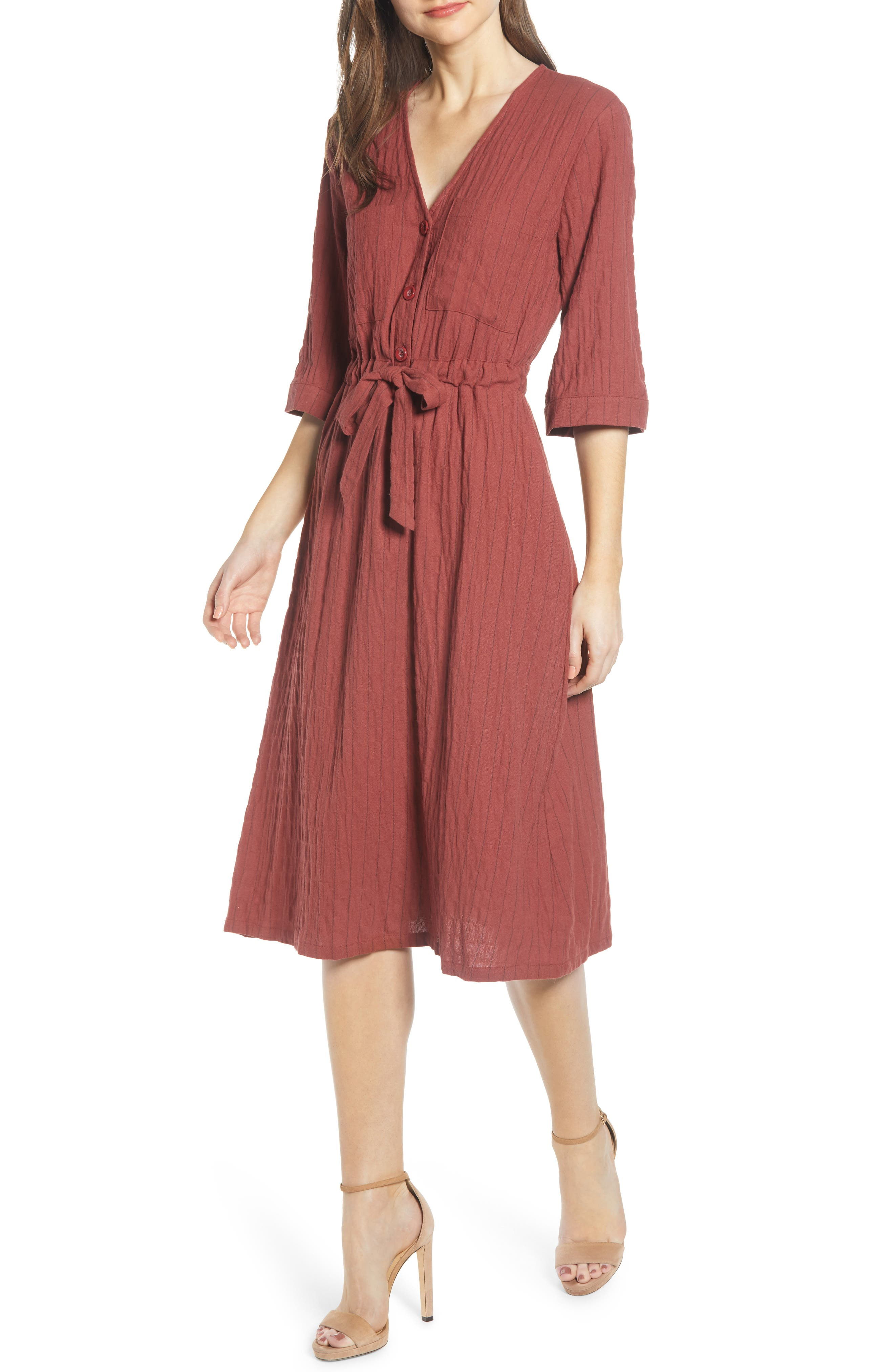 All In Favor Stripe Midi Dress, Red