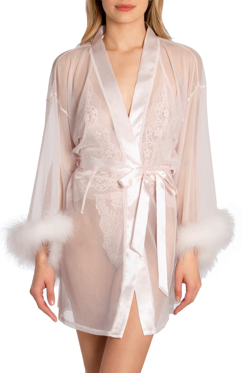 IN BLOOM BY JONQUIL Magic Feather Trim Wrap, Main, color, PALE PEACH