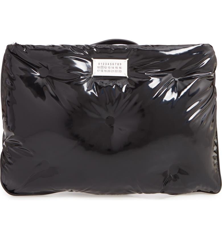 MAISON MARGIELA Glam Slam Patent Faux Leather Wristlet, Main, color, BLACK