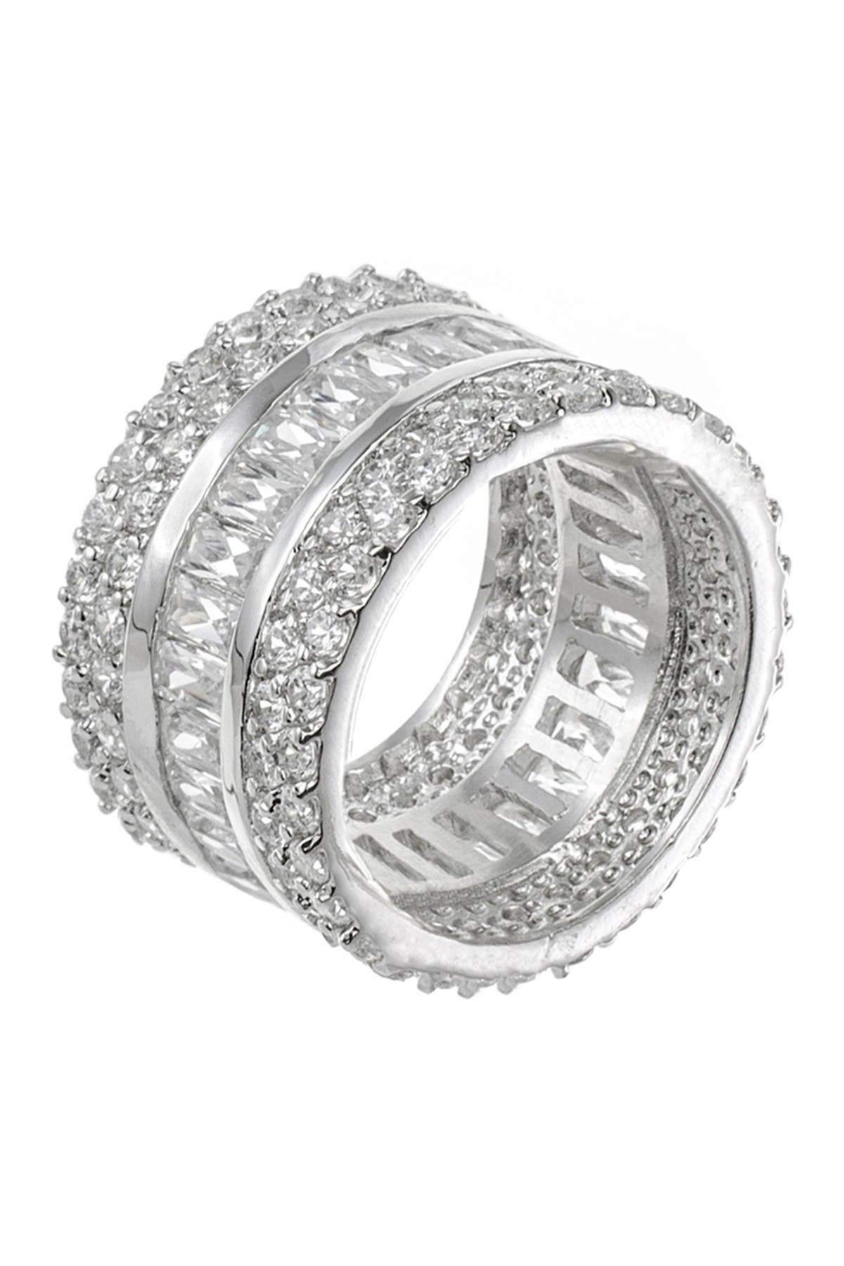 Image of CZ By Kenneth Jay Lane Rhodium Plated Multi CZ 3-Row Eternity Band Ring