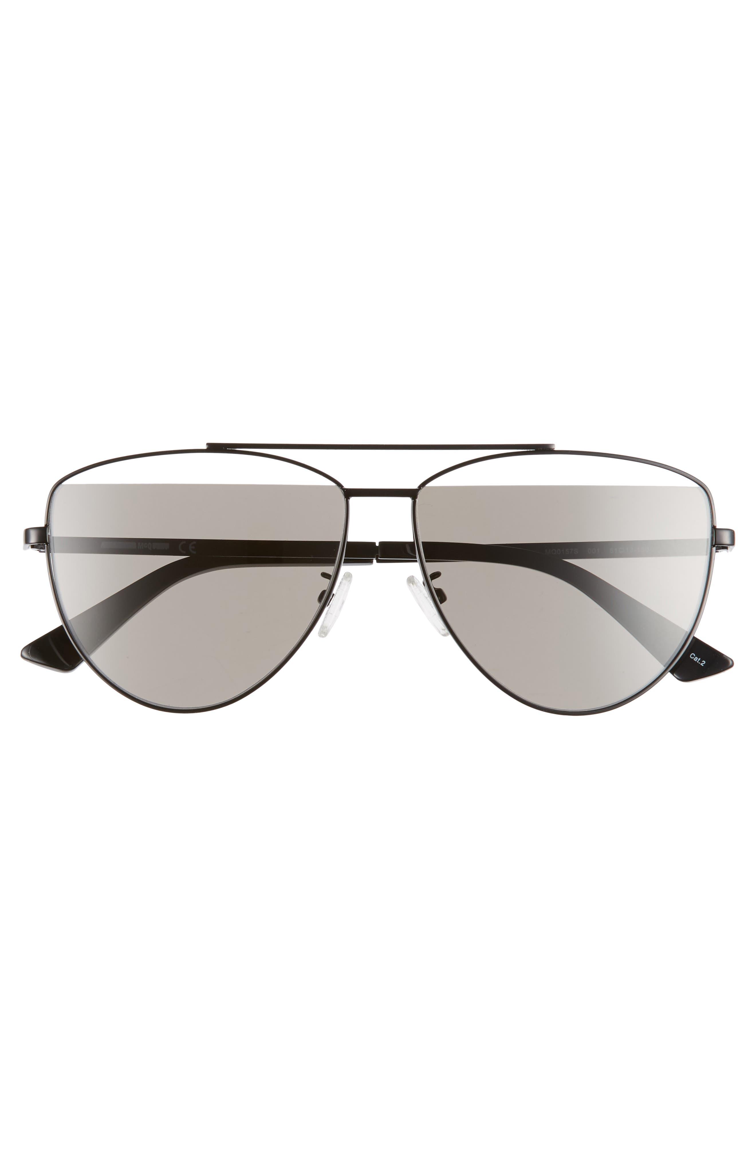 ,                             61mm Aviator Sunglasses,                             Alternate thumbnail 3, color,                             BLACK/ GREY