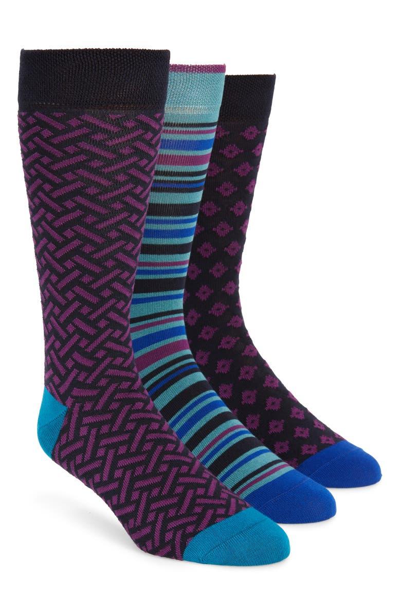 TED BAKER LONDON 3-Pack Socks, Main, color, BLUE MULTI