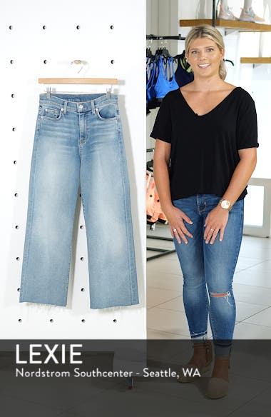 Alexa Frayed Hem Crop Wide Leg Jeans, sales video thumbnail