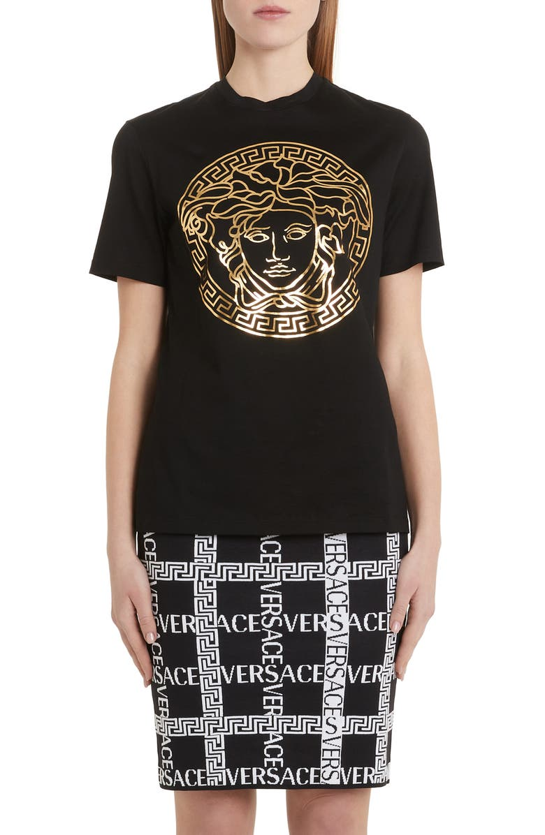 VERSACE Metallic Medusa Tee, Main, color, BLACK