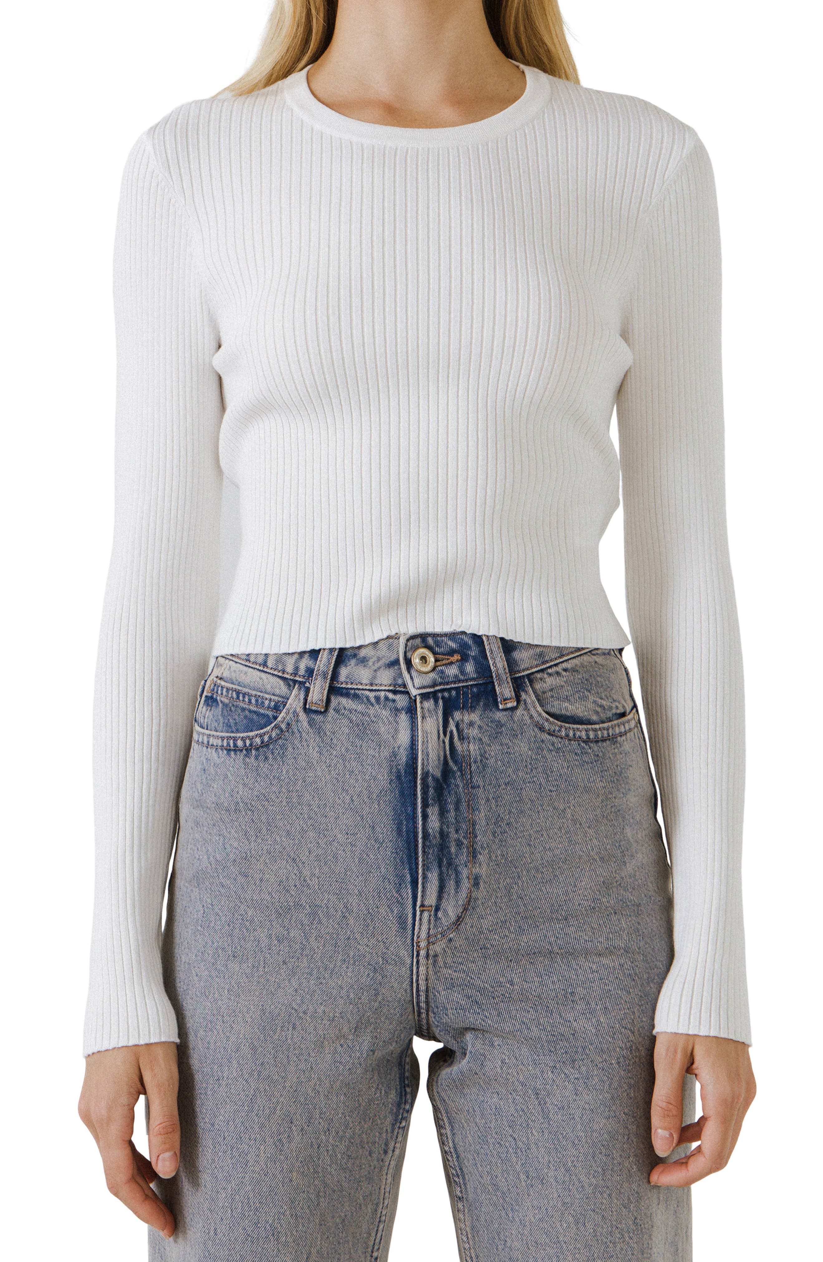 Back Bow Ribbed Sweater