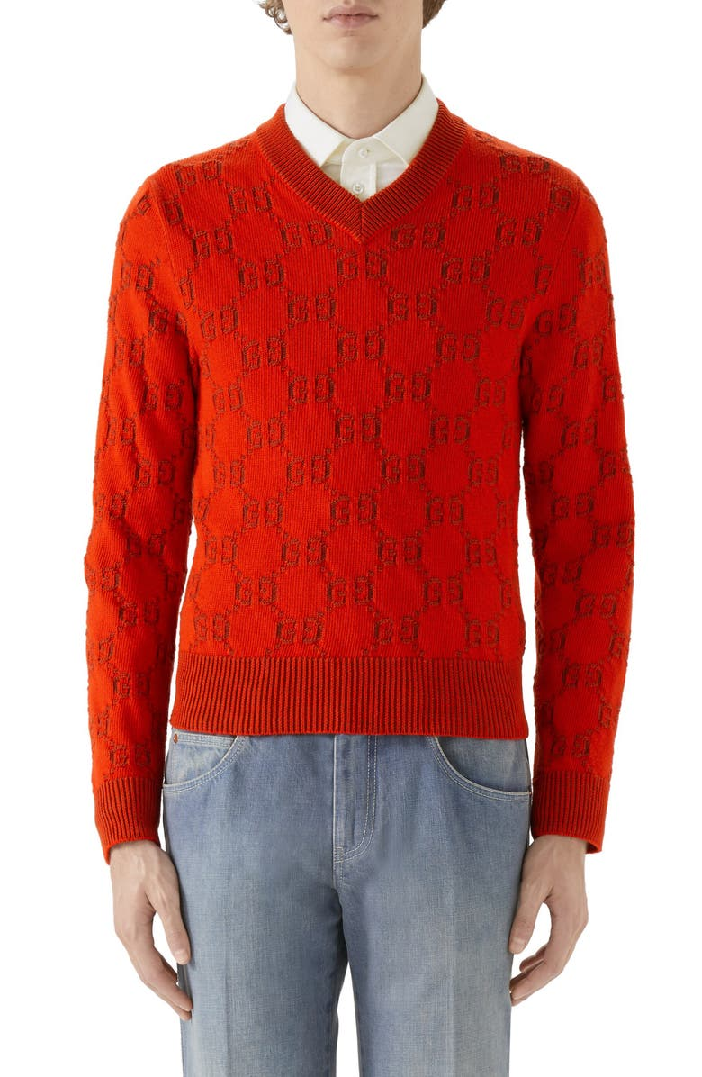 GUCCI GG Jacquard Cotton Sweater, Main, color, 600