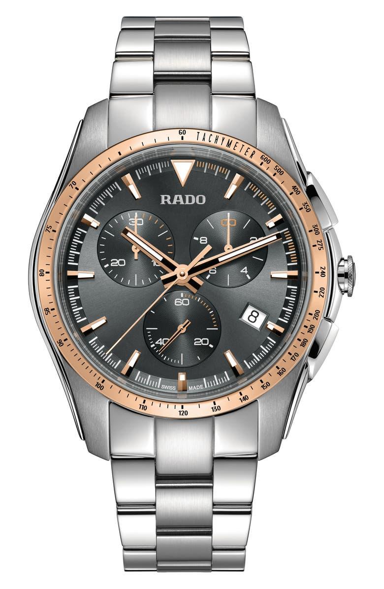 RADO HyperChrome Chronograph Bracelet Watch, 44.9mm, Main, color, 040