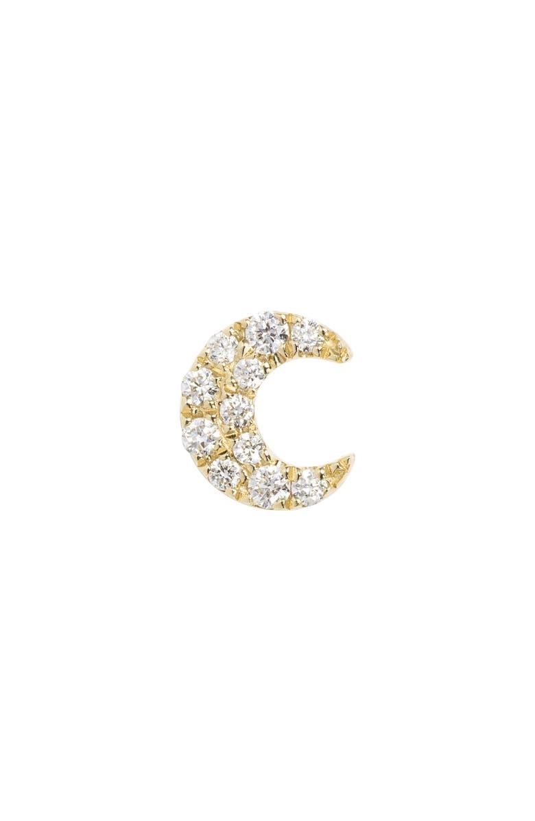 MARIA TASH Small Diamond Moon Stud Earring, Main, color, YELLOW GOLD