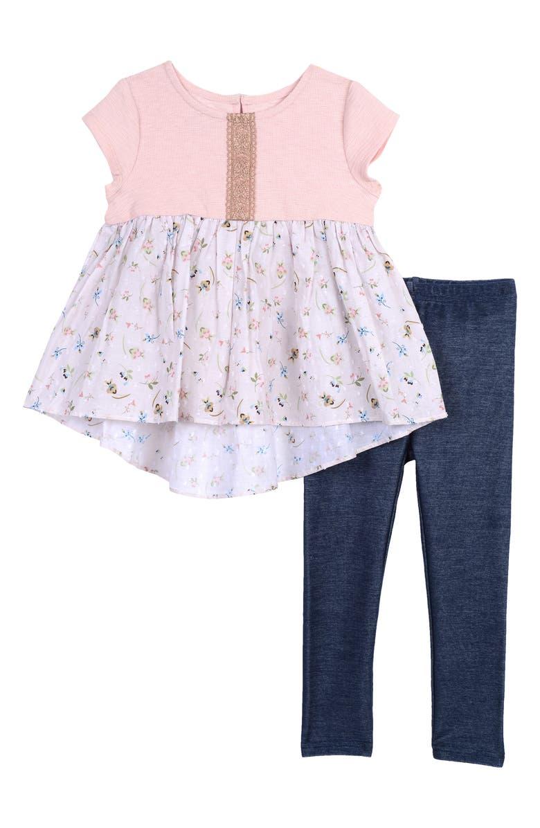 PIPPA & JULIE Ruffle Hem Floral Clip Dot Top & Leggings Set, Main, color, PINK/ IVORY