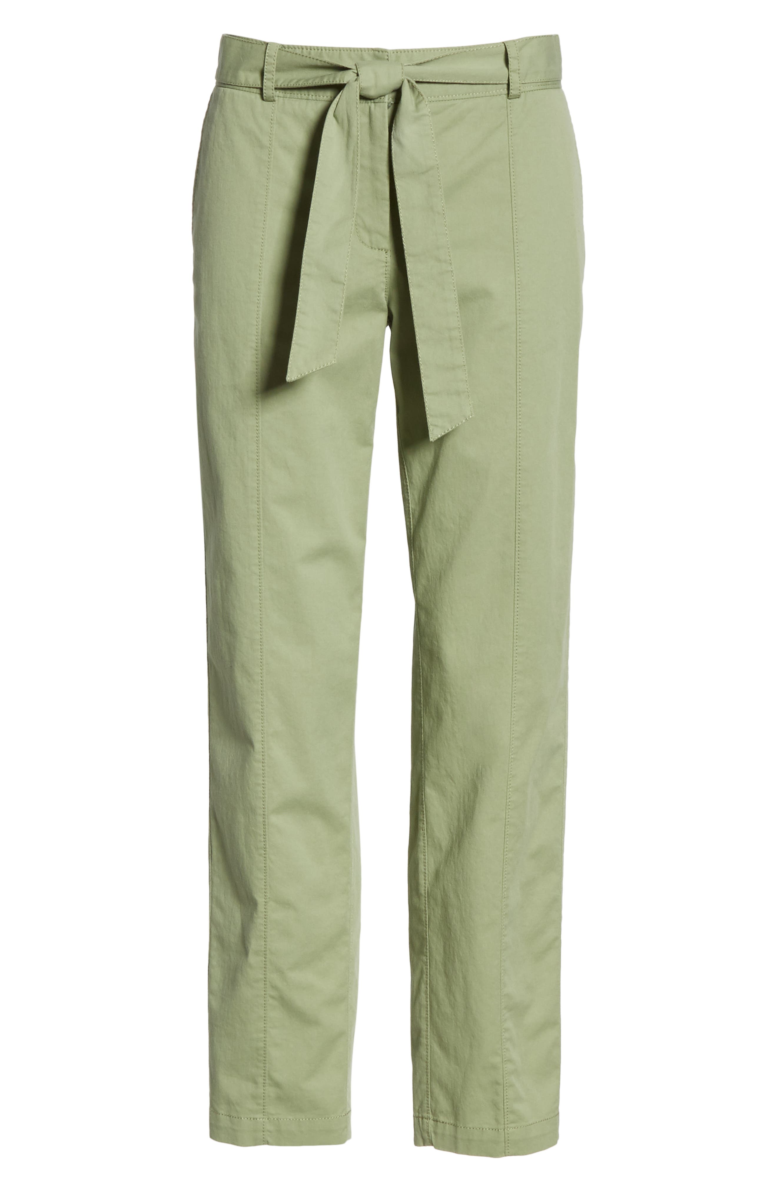 ,                             Center Seam Drawstring Stretch Cotton Pants,                             Alternate thumbnail 7, color,                             GREEN BASIL