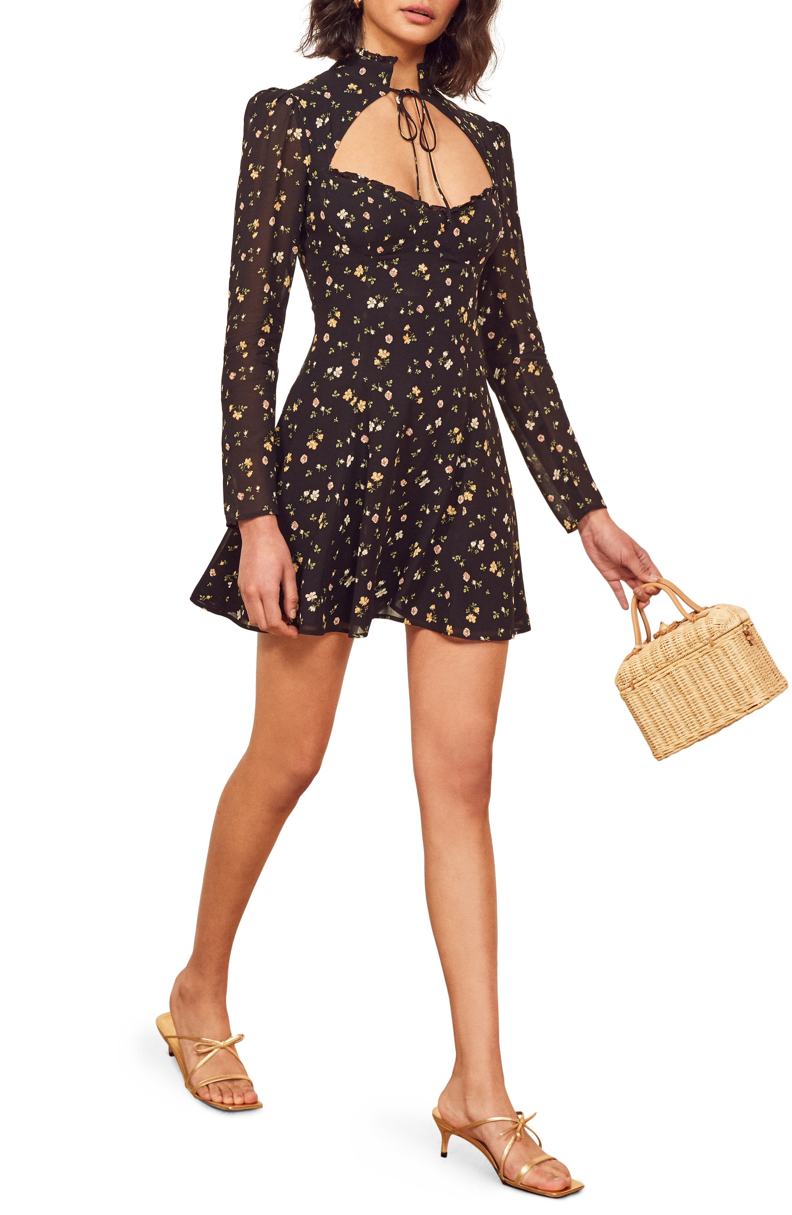 Reformation Vivianne Long Sleeve Minidress, Black