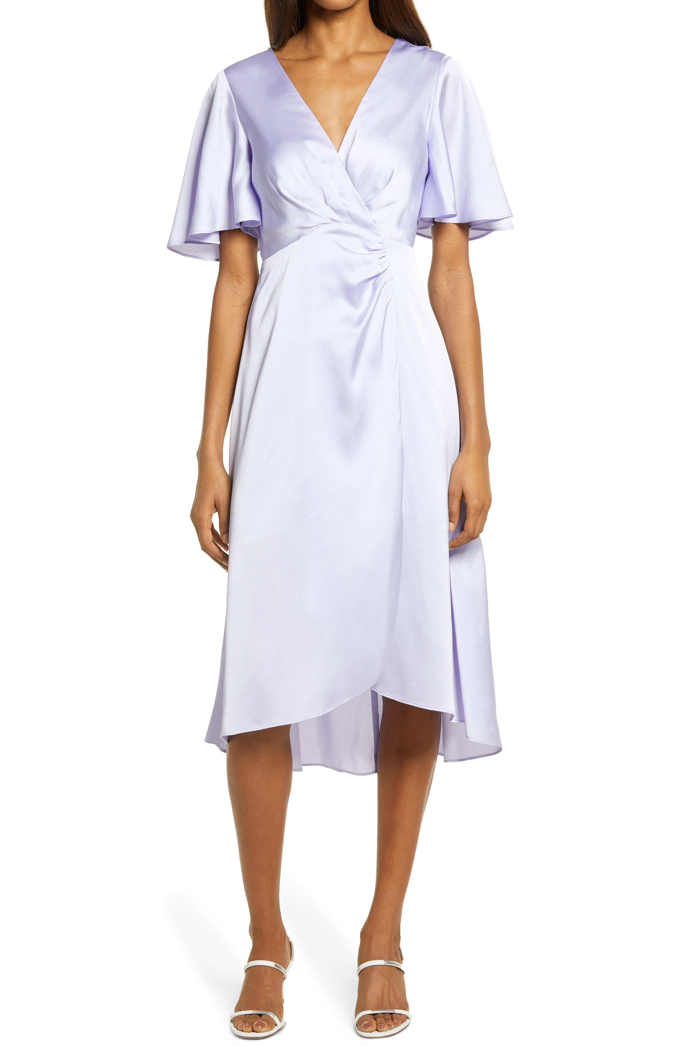 Flutter Sleeve Satin Midi Dress