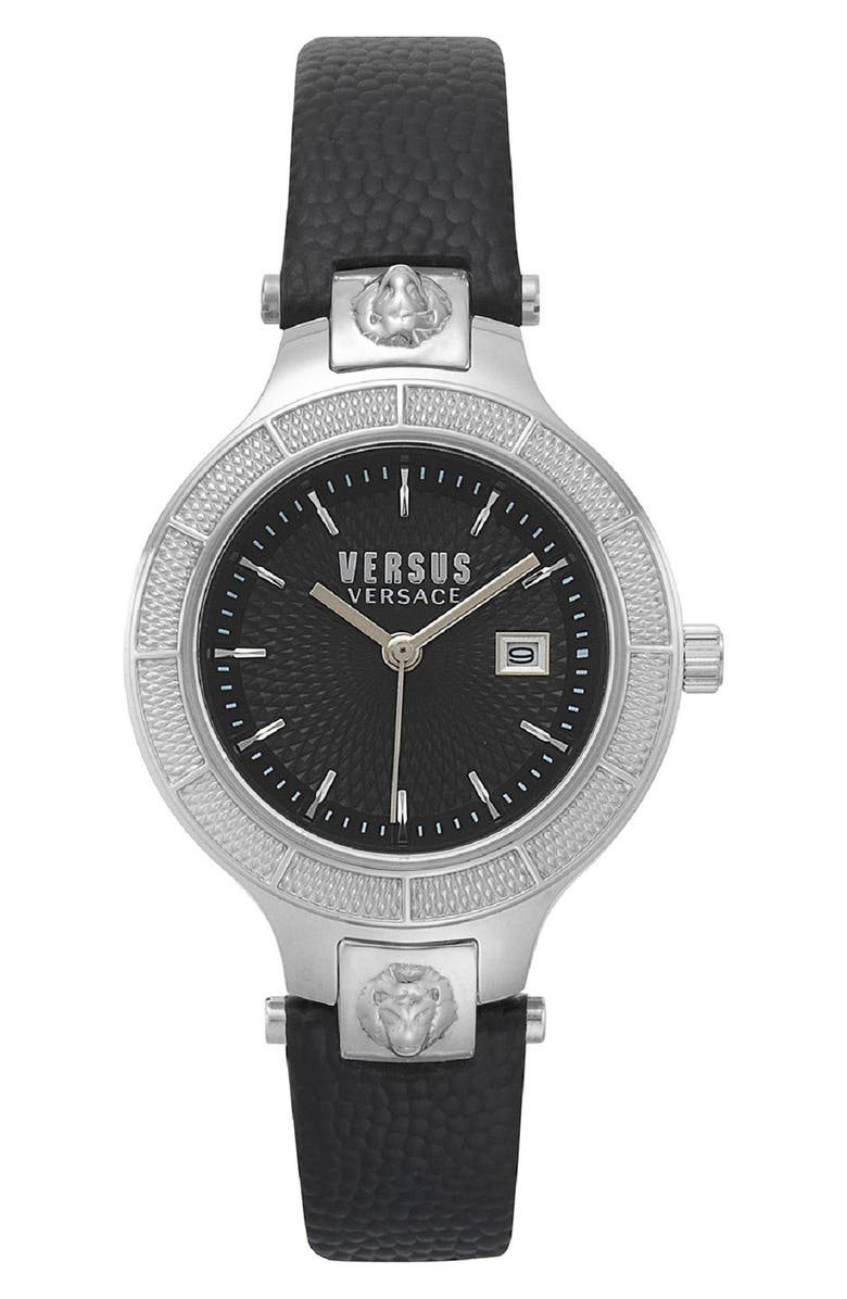 VERSUS VERSACE Claremont Leather Strap Watch, 32mm, Main, color, BLACK/ SILVER