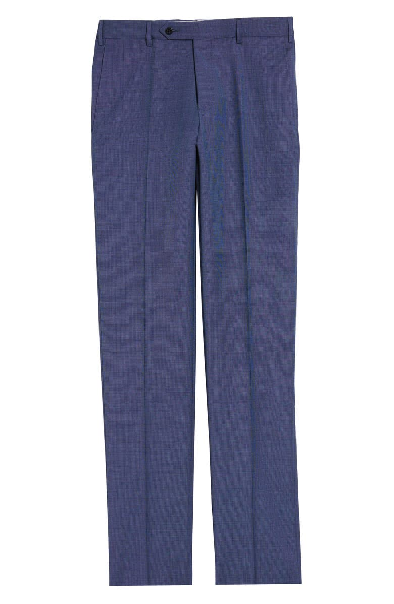 ZANELLA Parker Flat Front Wool Trousers, Main, color, BLUE