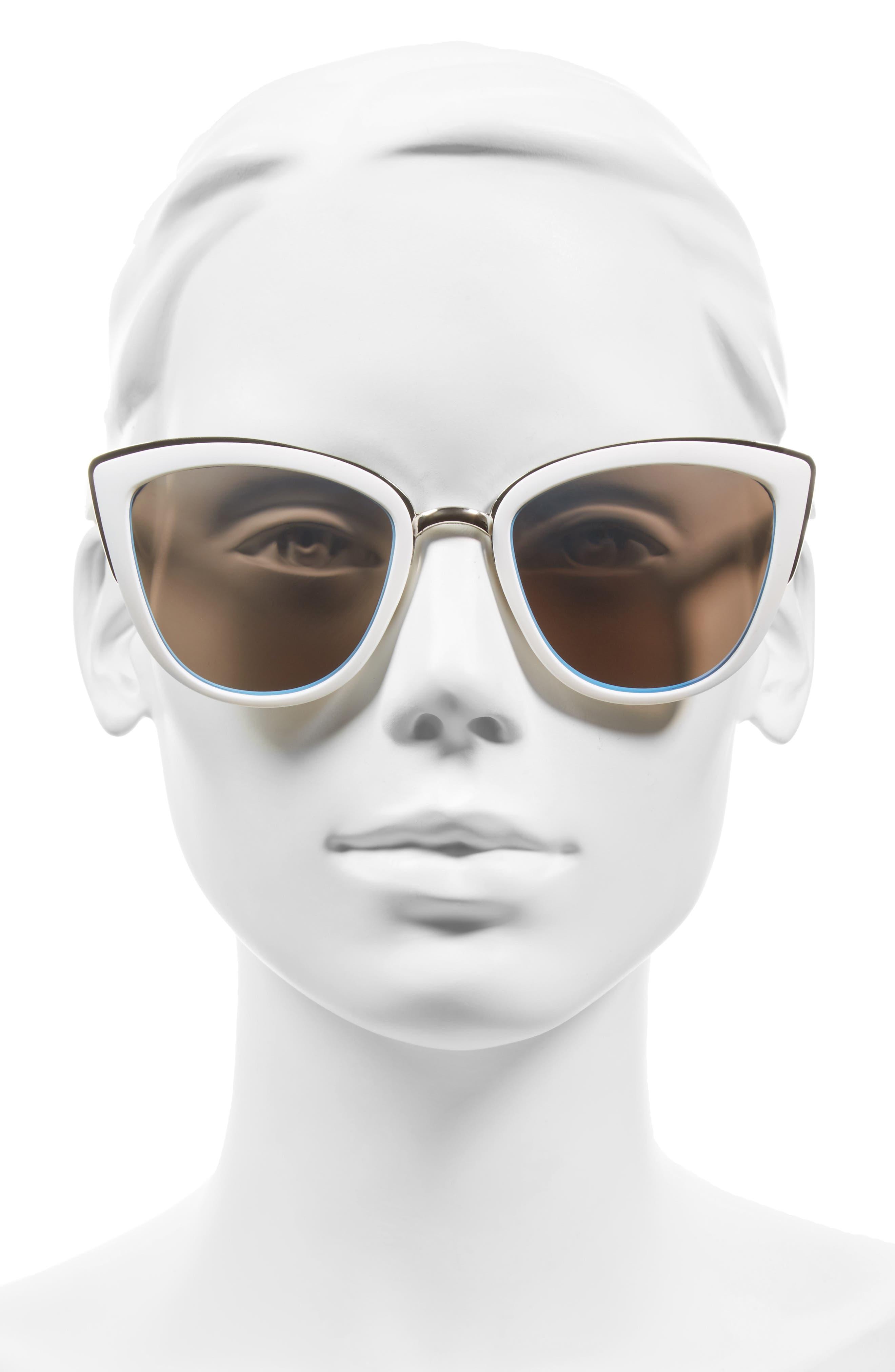 ,                             55mm Metal Rim Cat Eye Sunglasses,                             Alternate thumbnail 10, color,                             100
