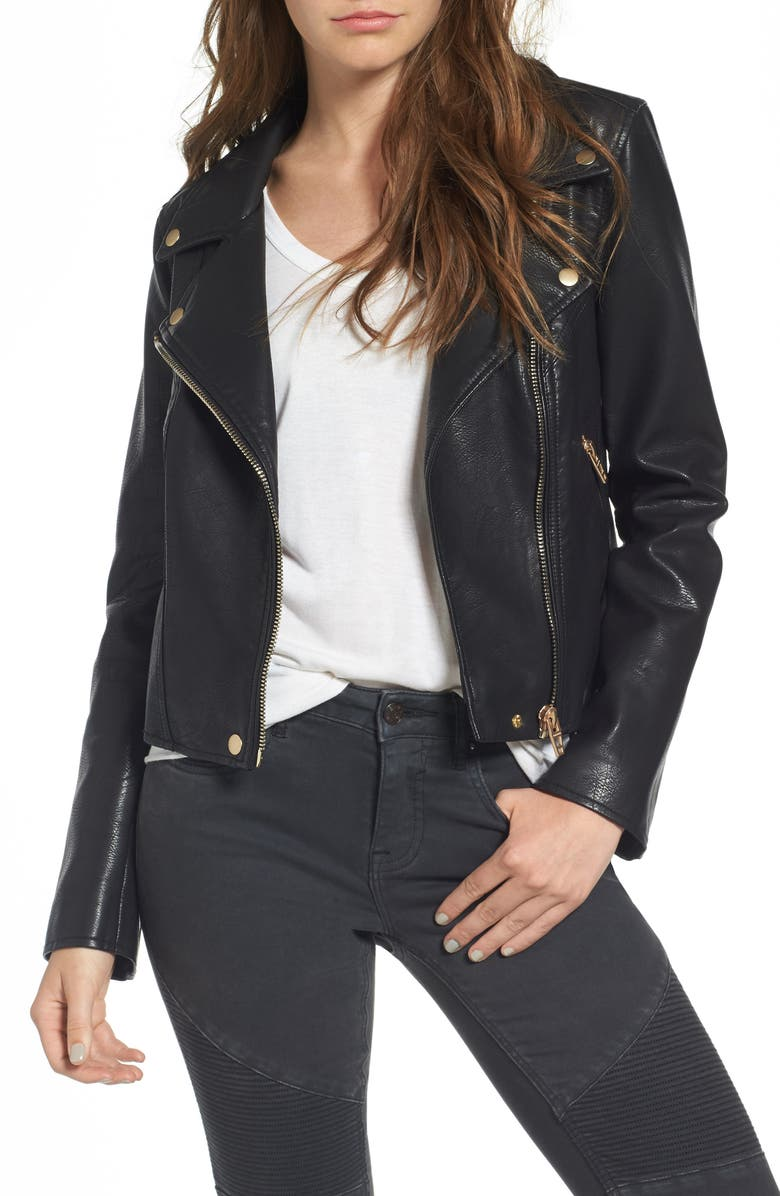 BLANKNYC Life Changer Moto Jacket, Main, color, BLACK
