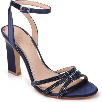 Jewel Badgley Mischka Crystal Embellished Ankle Strap Sandal- Blue