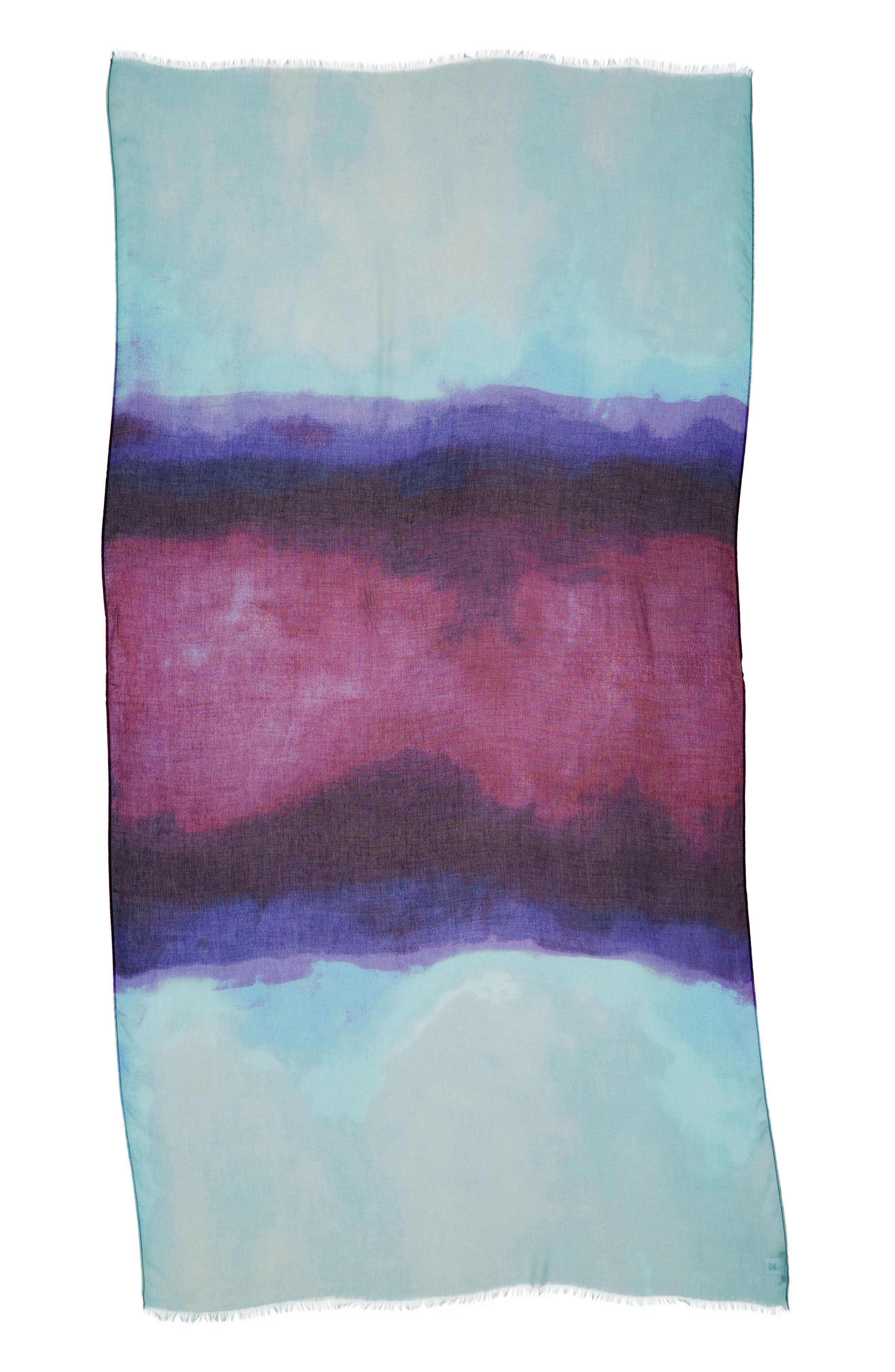,                             Print Modal & Silk Scarf,                             Alternate thumbnail 3, color,                             BLUE HEAVEN OMBRE PRINT