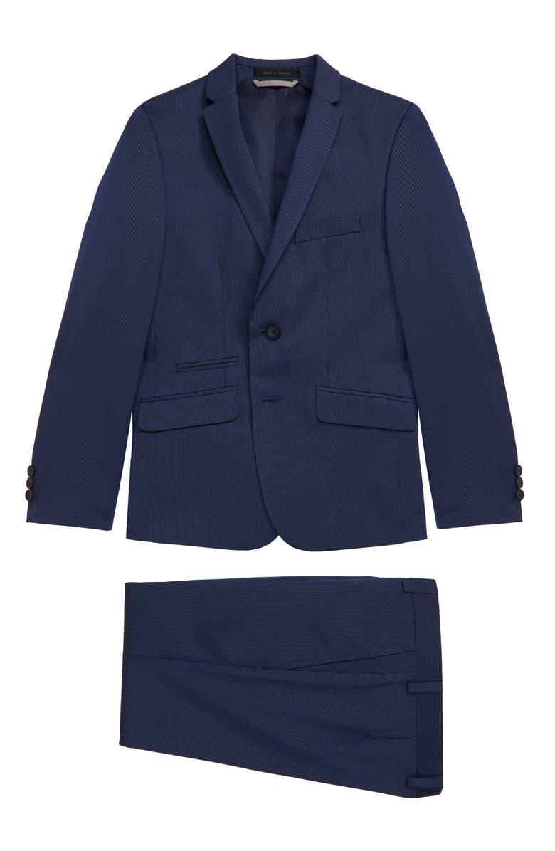 ANDREW MARC Stripe Suit, Main, color, BLUE THIN STRIPE
