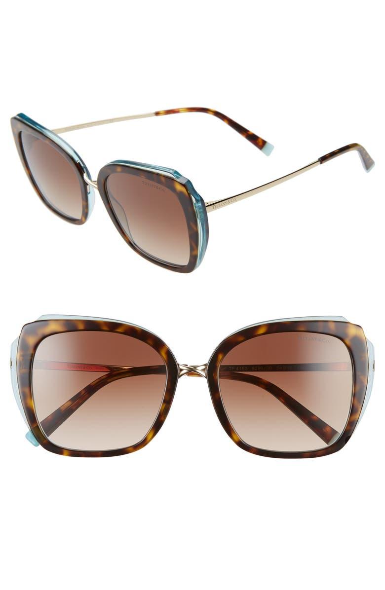TIFFANY & CO. 54mm Gradient Square Sunglasses, Main, color, HAVANA/ BLUE/ BROWN GRADIENT